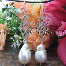 S071011 White Keshi Baroque  Pearl Silver Hook Cz Connector