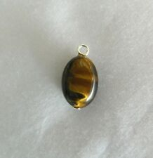 Tiger Eye, 14mm x 10mm Oval Bead, Sterling Silver Fitting, Pendant/Charm