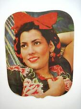 Vintage Charming Mexican Advertising Fan w/ Beautiful Woman & Braided Hair *