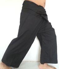 YOGA Thai Fisherman Trousers Pants Long Cotton Wrap MenWomen Unisex Black Colour
