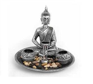 Large Buddha Ornament Candle Tea Light & Incense Holder Set With Pebbles & Base