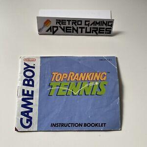 MANUAL ONLY - Top Ranking Tennis - Gameboy DMG - PAL AUS - MANUAL ONLY
