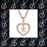 Trendy Rose Gold Crystal Heart Initial Letter A-Z Alphabet Charms Chain Necklace