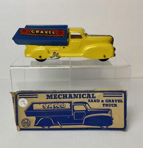 Vintage MARX SAND & GRAVEL PRESSED STEEL & Tin Wind Up Truck w BOX NICE!