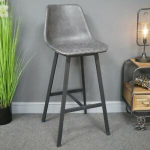 Breakfast Bar Stool Grey Faux Leather Kitchen Seat Retro Padded Furniture