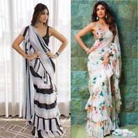 Ruffle Saree Designer Frill Sari Indian Women Wedding Wear New Blouse Silk 1