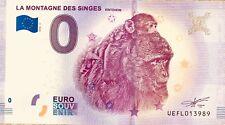 BILLET 0 EURO SOUVENIR TOURISTIQUE MONTAGNE DES SINGES   2018