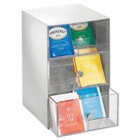 mDesign Plastic Kitchen Storage Tea Organizer, 3 Drawer, 18 Sections, Light Gray