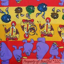 BonEful Fabric FQ Cotton Quilt Stripe Birthday Happy Meal Mc Donalds Child Food