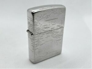 """Auth ZIPPO 2013 Limited Edition """"World Map"""" All-Sides Design Lighter Silver"""