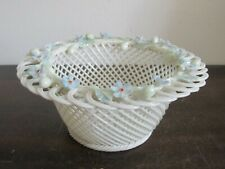 Belleek Ireland Porcelain Woven Leaves Handled Basket Dish Blue Flowers