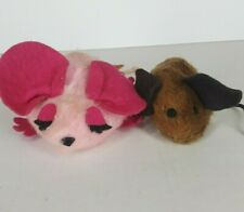 Vtg Lot of 2 Pillow Pets Pink Mouse and Brown plush Dardenelle Dakin Felt Eyes