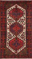 Tribal Geometric IVORY Hamedan Area Rug Wool Hand-Knotted Kitchen Carpet 3'x6'