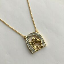 Elvis Collection 18K Gold Plated Crystal Set Horse & Horseshoe Ladies Necklace