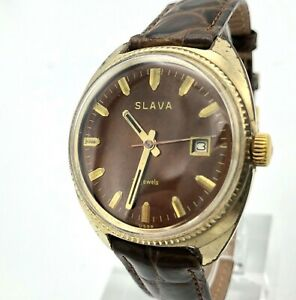 Vintage Soviet Brown Mens Watch SLAVA Date Rare SERVICED Analog AU10 Gold Plated