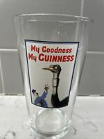 GUINNESS PINT BEER GLASS OSTRICH SWALLOWED A GLASS 'My Goodness My Guinness'