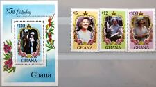 Ghana 1985 1085-87 bloque 116 S/s 964 85th bday Queen Mother Royals mnh