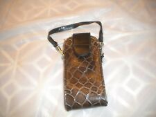 NEW BROWN  CELL PHONE POUCH WITH A LOOP FOR THE BELT AND STRAP FOR THE PURSE