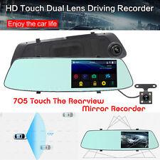 1080P AUTO DVR DOPPIA LENTE Touch specchietto retrovisore Dash Cam Recorder rilevamento del movimento