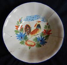 Grand plat en faïence / Saladier décor au coq (ancien - 19è)
