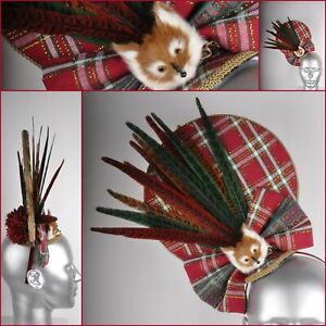 Red Green Gold Tartan Plaid Fox Feather Bow Lace Floral Raceday Fascinator