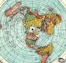 "Map Standard World Large Earth Gleason 36""x24"" Flat Globe Poster Quality Travel"