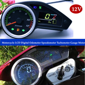 12V Universal Digital LCD Motorcycle Speedometer Odometer RPM Speed Fuel Gauge