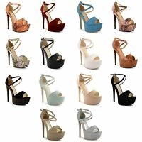 Womens Ladies Stiletto High Heel Open Toe Strappy Buckle Sandals Shoes Size 3-8