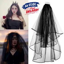 1 Elbow Applique Wedding Bridal Veil Black With Comb Lace Veil