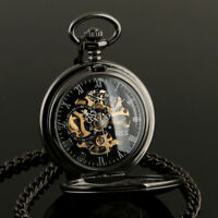 ESS Mens Pocket Watch Mechanical Black Steampunk Skeleton Retro Chain Luxury
