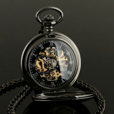 ESS Mechanical Skeleton Steampunk Pocket Watch Black Vintage Chain Mens Wind Up