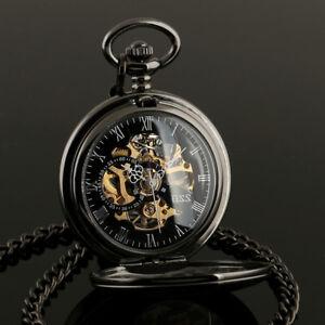 ESS Mens Pocket Watch Mechanical Black Steampunk Skeleton Retro Chain Luxury