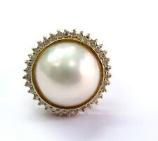 Fine MABE Pearl and Diamond Ring YG 14KT