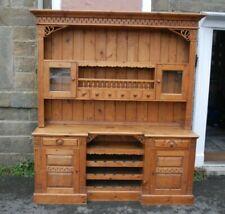 Large Rustic Pine 4 Door Dresser With Spice Drawers & Wine Rack