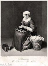 La Cucitrice. Couturiere.Needlewoman.Naherin.Sarta. Arti e Mestieri.Acciaio.1850