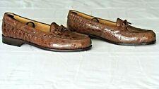NEW! Men's $995 ZELLI Brown Genuine Crocodile Alligator Loafers Shoes Boots 11.5
