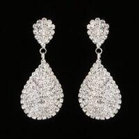 Charm Silver Crystal Geometric Earrings Drop Dangle Women Gift Party Jewelry