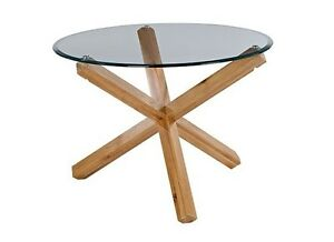 LPD Oporto Round Dining Glass Table Modern Seats 4 Solid Oak Criss Crossed Legs