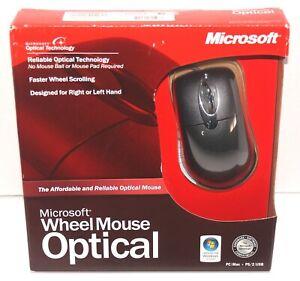 Microsoft Optical 3-Button PS/2 & USB Wheel Mouse Model: D66-00069 - Black NEW