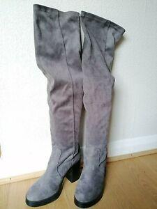 Women New Look Grey  Knee High Heeled Suede Boots Size UK 4