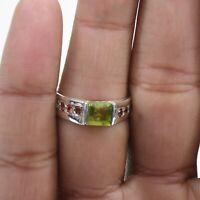 Peridot Tourmaline Handmade Jewelry 925 Solid Sterling Silver Ring Size 7