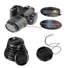 49/52/55/58mm Center Pinch Snap on Front Lens Cap & String for Canon Nikon Sony