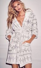 VICTORIA'S SECRET Cozy Short Robe Exploded Ivory Fair Isle Hooded NEW! XL