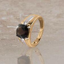 Natural Ahumado Cuarzo Gema Con Chapado en Oro 925 Anillo Plata de Ley de Hombre