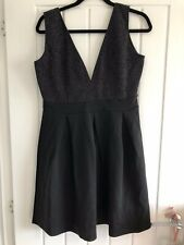Boohoo Black Silver Sparkly Party Dress Size 16 BNWT