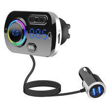 Hands-free Smart Bluetooth 5.0 Car Kit Speaker Dual USB FM Transmitter Atmospher