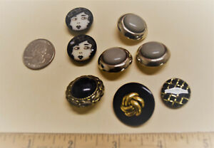 """Black & Silver,Gray 3/4""""-1"""" Shank Fancy Buttons,13pc,Sewing,Closures,Art,Crafts"""