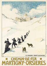 Vintage Ski Posters MARTIGNY-ORSIERES, Swiss, 1913, Albert Muret, 250gsm Print