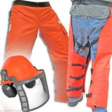 "Chain Saw Safety Chaps, 35"" Leg,OSHA & UL Approved W/ Deluxe Safety Helmet"