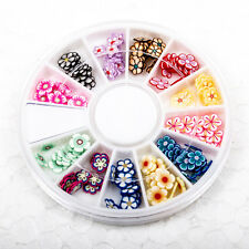 120pcs (1BOX) Flower Wheel DIY Decor Fimo Clay Nail Tips Art Slice Craft A1715-1